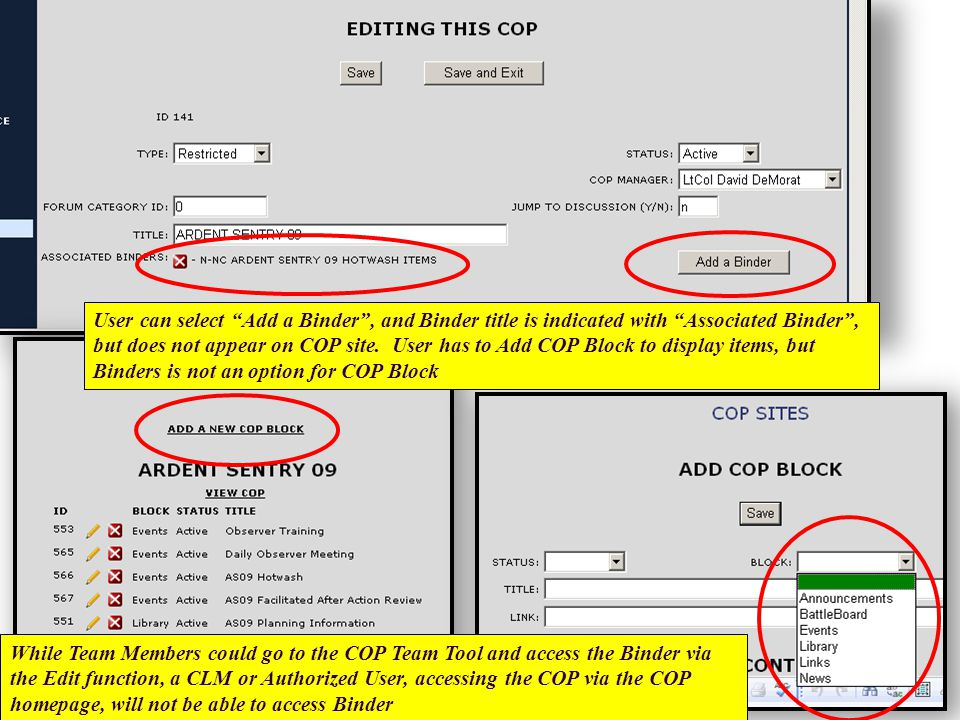 User can select Add a Binder , and Binder title is indicated with Associated Binder , but does not appear on COP site.