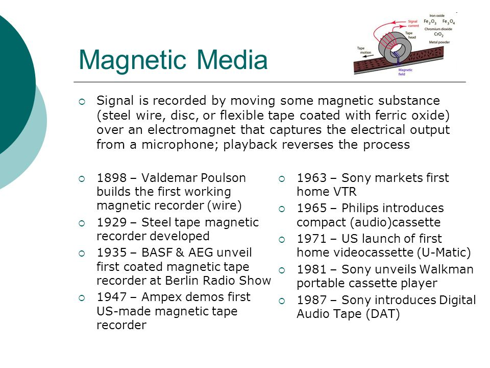 Magnetic Media  Signal is recorded by moving some magnetic substance (steel wire, disc, or flexible tape coated with ferric oxide) over an electromag
