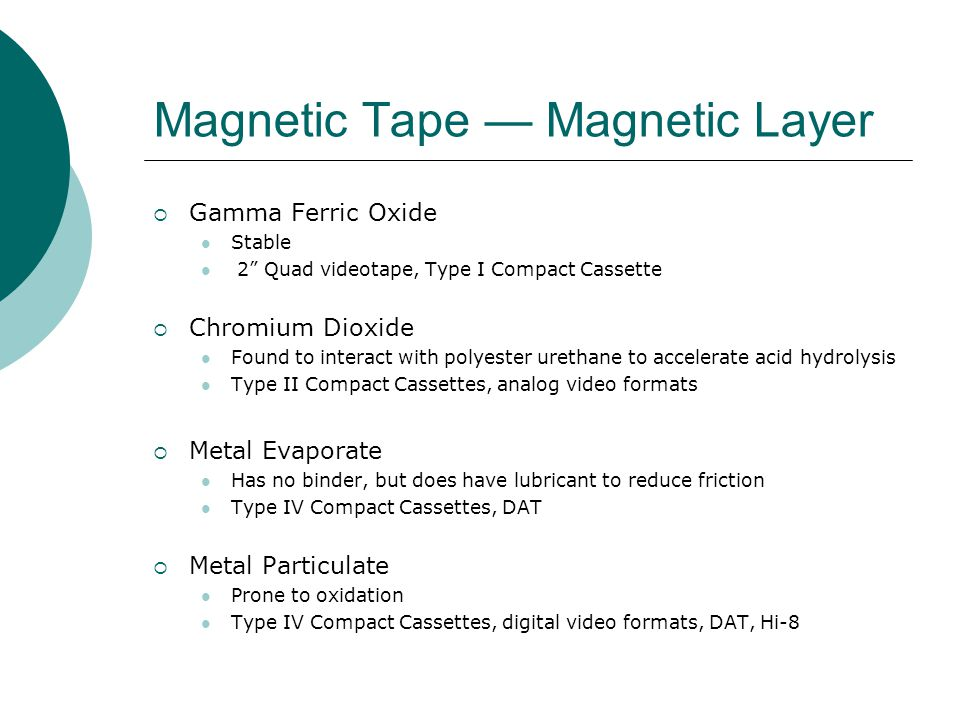 "Magnetic Tape — Magnetic Layer  Gamma Ferric Oxide Stable 2"" Quad videotape, Type I Compact Cassette  Chromium Dioxide Found to interact with polyes"