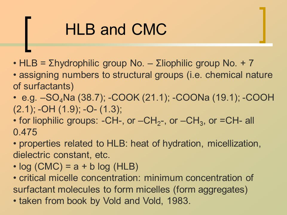 HLB and CMC HLB = Σhydrophilic group No. – Σliophilic group No.