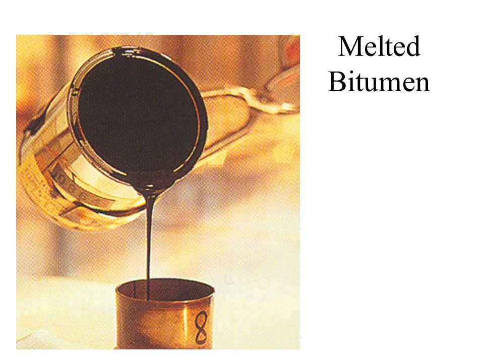 Bitumen Preparation Petroleum Kerosene (parafin) Diesel oil Lubricating oil Base Bitumen Light oil Fractional Distillation Crude oil Fluxing Cut-back bitumen Emulsification in water Bitumen Emulsion Blending Penetration Grade Bitumen Oxidation Blown Bitumen