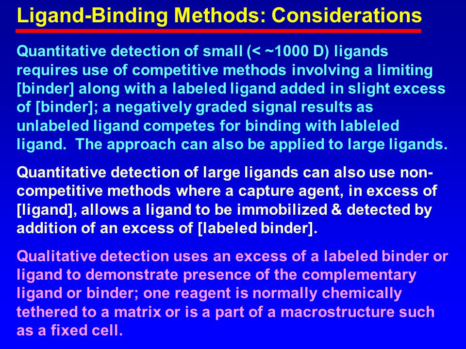 Ligand-Binding Methods: Considerations Quantitative detection of small (< ~1000 D) ligands requires use of competitive methods involving a limiting [binder] along with a labeled ligand added in slight excess of [binder]; a negatively graded signal results as unlabeled ligand competes for binding with lableled ligand.