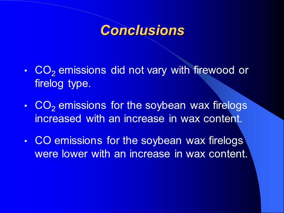 The soybean wax firelogs produced fewer CO and THC emissions the commercial firelogs tested. Based on the assumption that the oak firewood and commerc