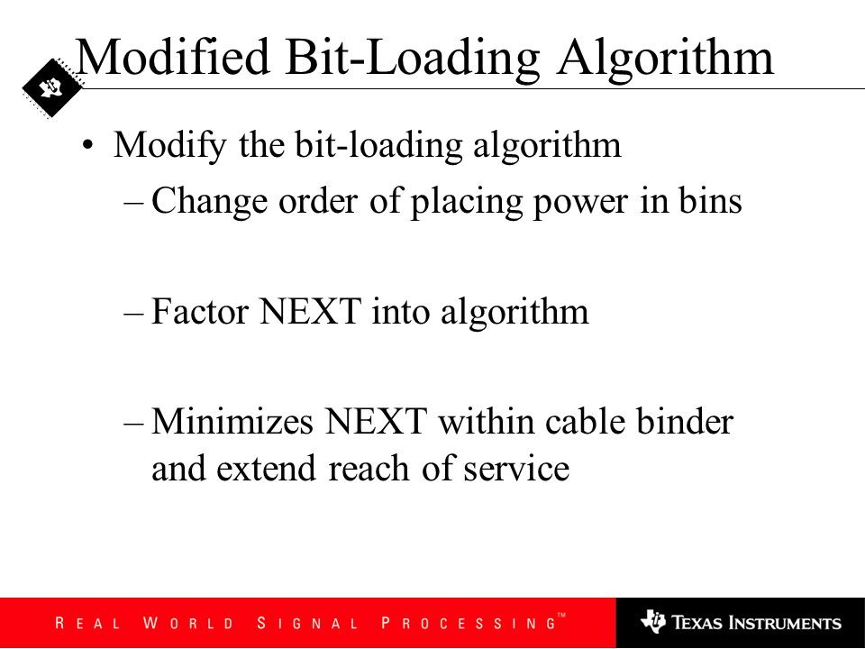 Block Coding Across COs Block coding to eliminate NEXT If code blocks are greater than a minimum length, NEXT can be completely eliminated Need control of a service i.e., all DSL modems –only useful for self-NEXT rejection