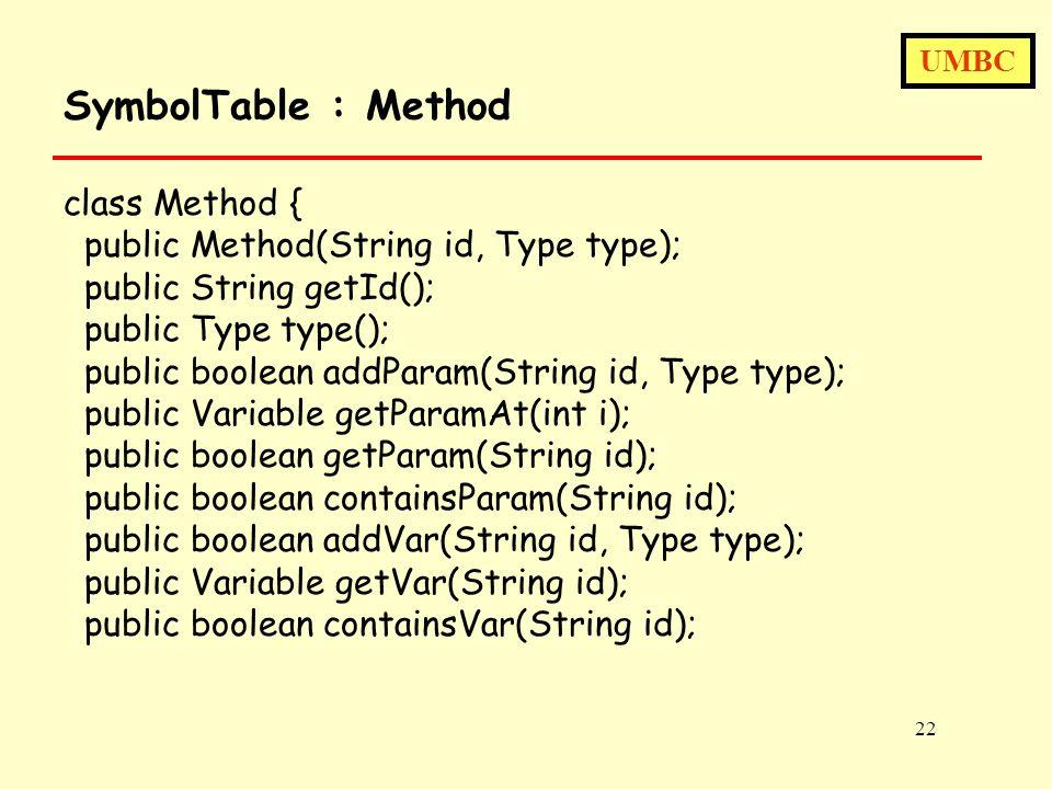 UMBC 22 SymbolTable : Method class Method { public Method(String id, Type type); public String getId(); public Type type(); public boolean addParam(String id, Type type); public Variable getParamAt(int i); public boolean getParam(String id); public boolean containsParam(String id); public boolean addVar(String id, Type type); public Variable getVar(String id); public boolean containsVar(String id);
