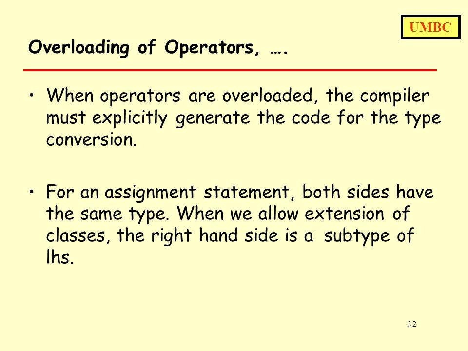 UMBC 32 Overloading of Operators, ….