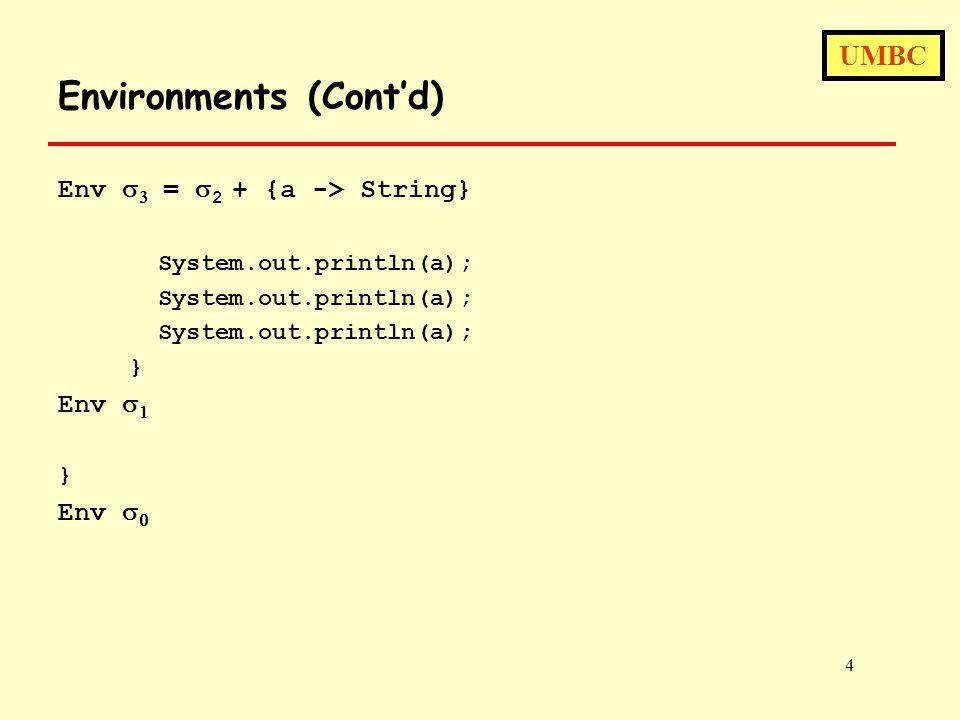 UMBC 4 Environments (Cont'd) Env   =  2 + {a -> String} System.out.println(a); } Env   } Env  