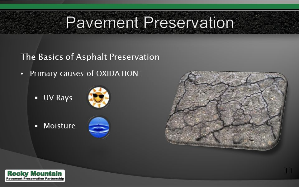 11 The Basics of Asphalt Preservation Primary causes of OXIDATION:  UV Rays  Moisture