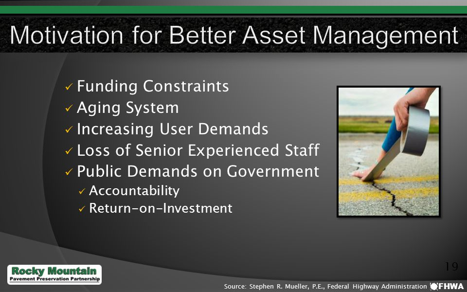 19 Funding Constraints Aging System Increasing User Demands Loss of Senior Experienced Staff Public Demands on Government Accountability Return-on-Investment FHWA Source: Stephen R.