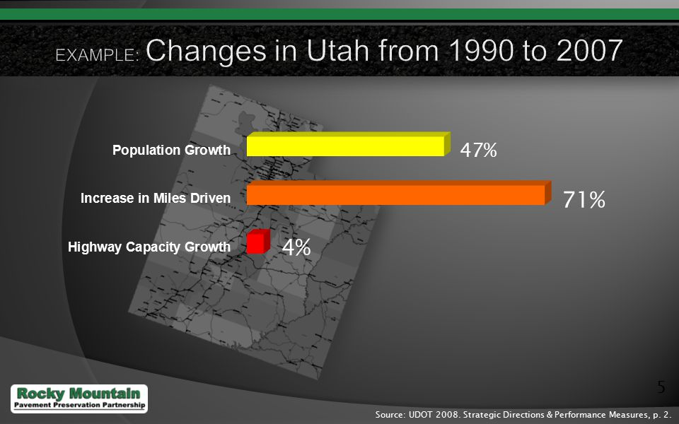 5 Source: UDOT 2008. Strategic Directions & Performance Measures, p. 2.