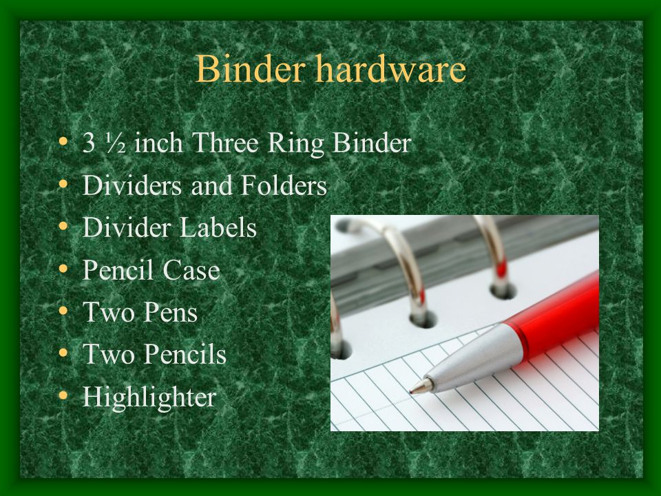 Binder Software – AVID Class Calendar Filled Out Recent Materials on Top No Loose Pages Binder Grading Sheets Tutorial Request Sheets Tutor Log Advisor Logs & Grade Sheets