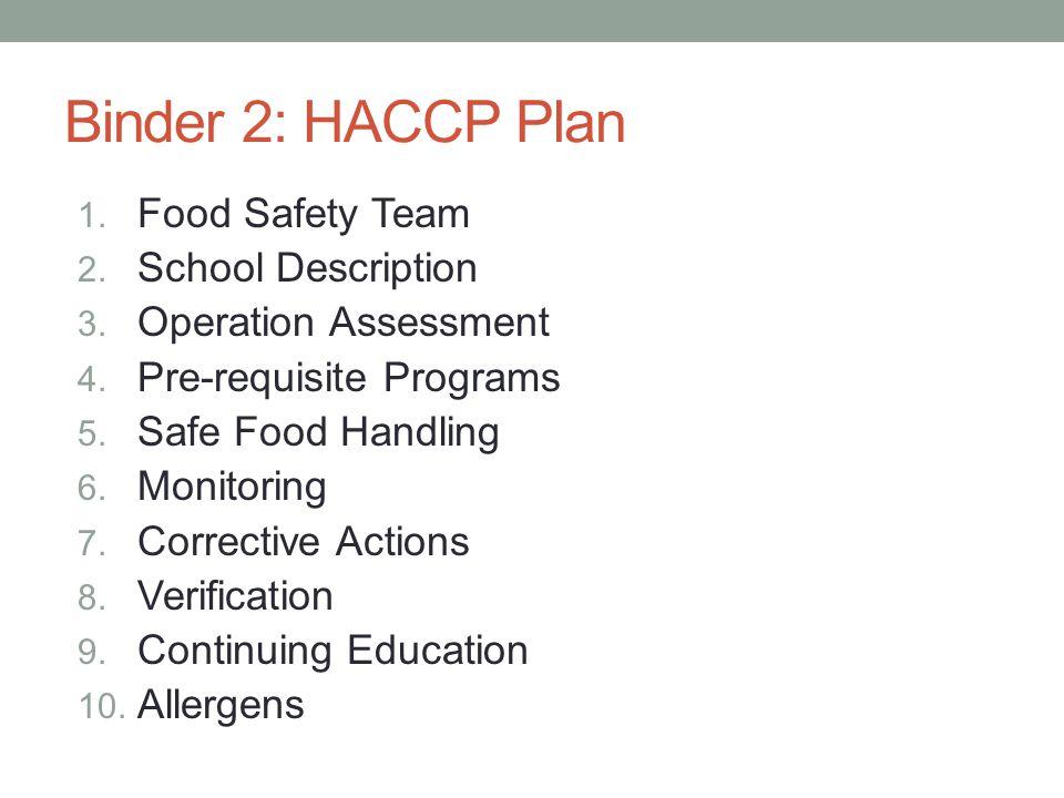 10 Binder 2: HACCP Plan 1. Food Safety Team 2. School Description 3.
