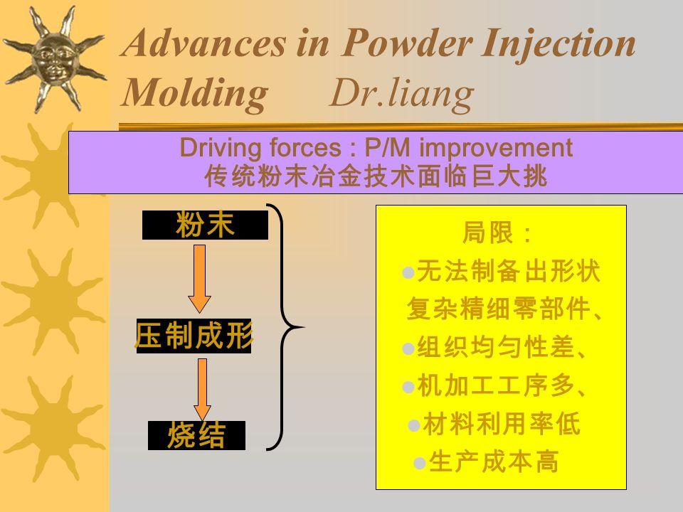 Advances in Powder Injection Molding Dr.liang Driving forces : P/M improvement 传统粉末冶金技术面临巨大挑 粉末 压制成形 烧结 局限: 无法制备出形状 复杂精细零部件、 组织均匀性差、 机加工工序多、 材料利用率低 生产