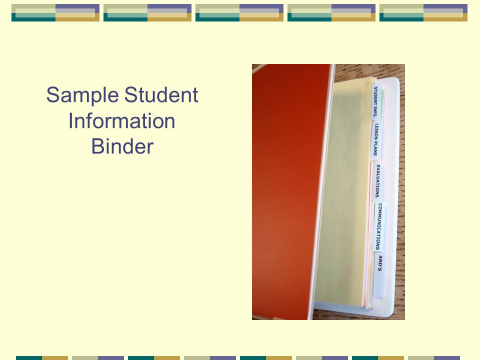 Sample Student Information Binder