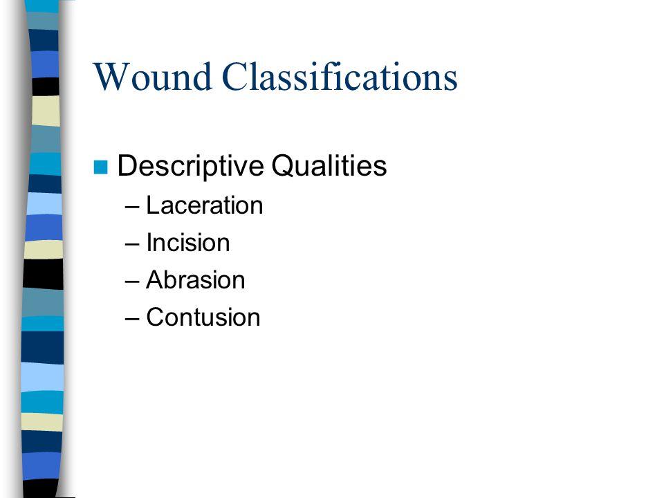 Wound Classifications Descriptive Qualities –Laceration –Incision –Abrasion –Contusion