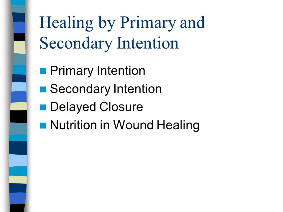 Healing by Primary and Secondary Intention Primary Intention Secondary Intention Delayed Closure Nutrition in Wound Healing