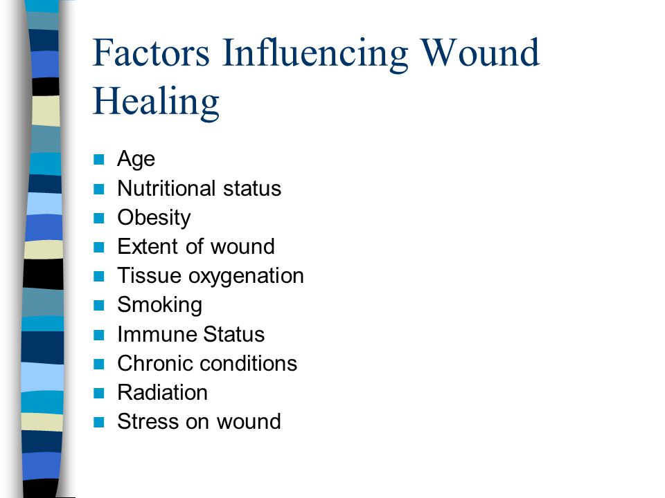 Factors Influencing Wound Healing Age Nutritional status Obesity Extent of wound Tissue oxygenation Smoking Immune Status Chronic conditions Radiation Stress on wound