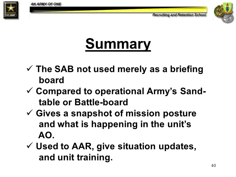 40 Summary The SAB not used merely as a briefing board Compared to operational Army's Sand- table or Battle-board Gives a snapshot of mission posture