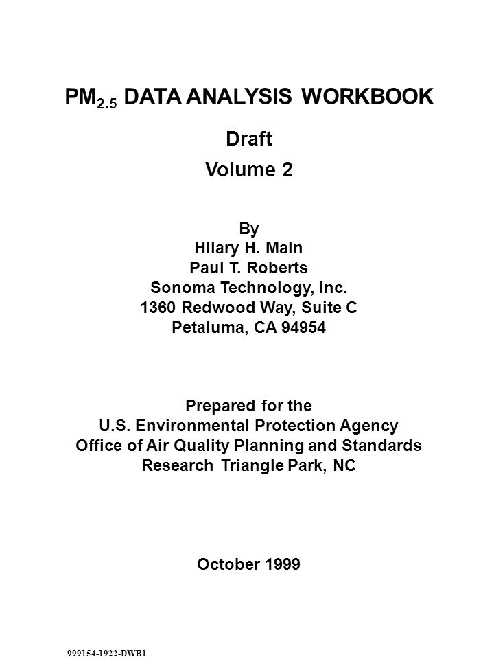 Draft Volume 2 By Hilary H. Main Paul T. Roberts Sonoma Technology, Inc.