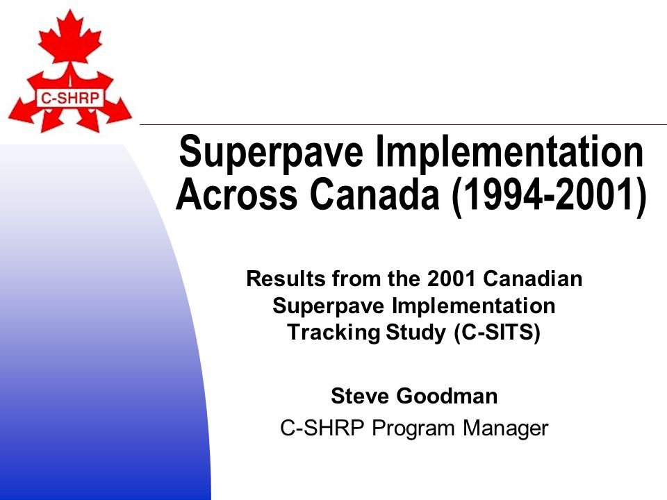 Overview C-SHRP and Superpave Past C-SHRP Implementation Surveys 2001 Survey Methodology Results Summary Some Current SP Research The Future of C-SHRP and Superpave