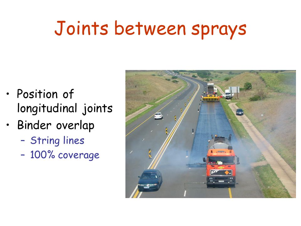 Joints between sprays Position of longitudinal joints Binder overlap –String lines –100% coverage