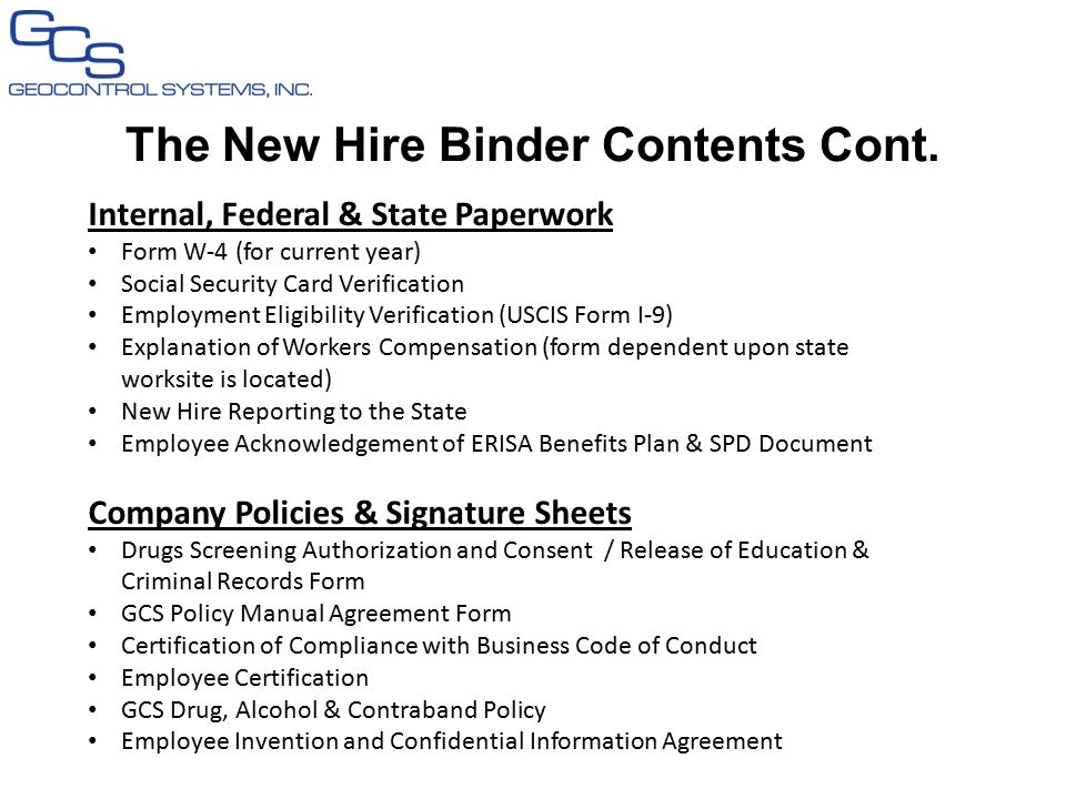 The New Hire Binder Contents Cont.