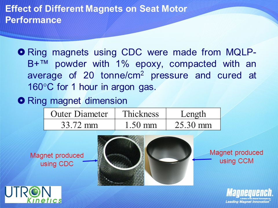 Effect of Different Magnets on Seat Motor Performance  Ring magnets using CDC were made from MQLP- B+™ powder with 1% epoxy, compacted with an averag