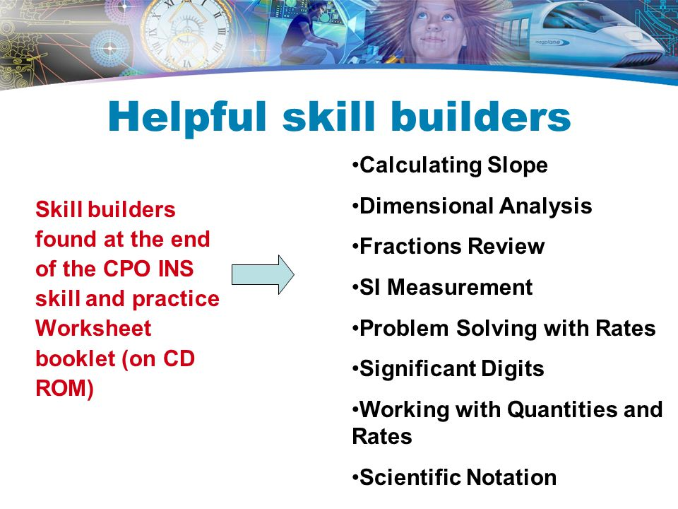 Helpful skill builders Skill builders found at the end of the CPO INS skill and practice Worksheet booklet (on CD ROM) Calculating Slope Dimensional Analysis Fractions Review SI Measurement Problem Solving with Rates Significant Digits Working with Quantities and Rates Scientific Notation