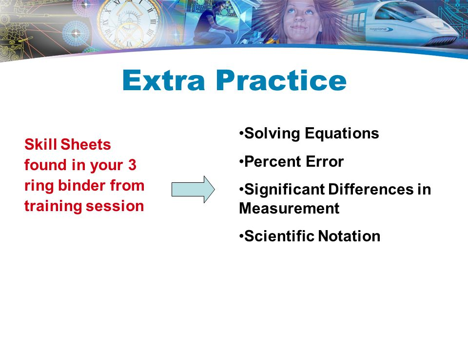 Extra Practice Skill Sheets found in your 3 ring binder from training session Solving Equations Percent Error Significant Differences in Measurement Scientific Notation