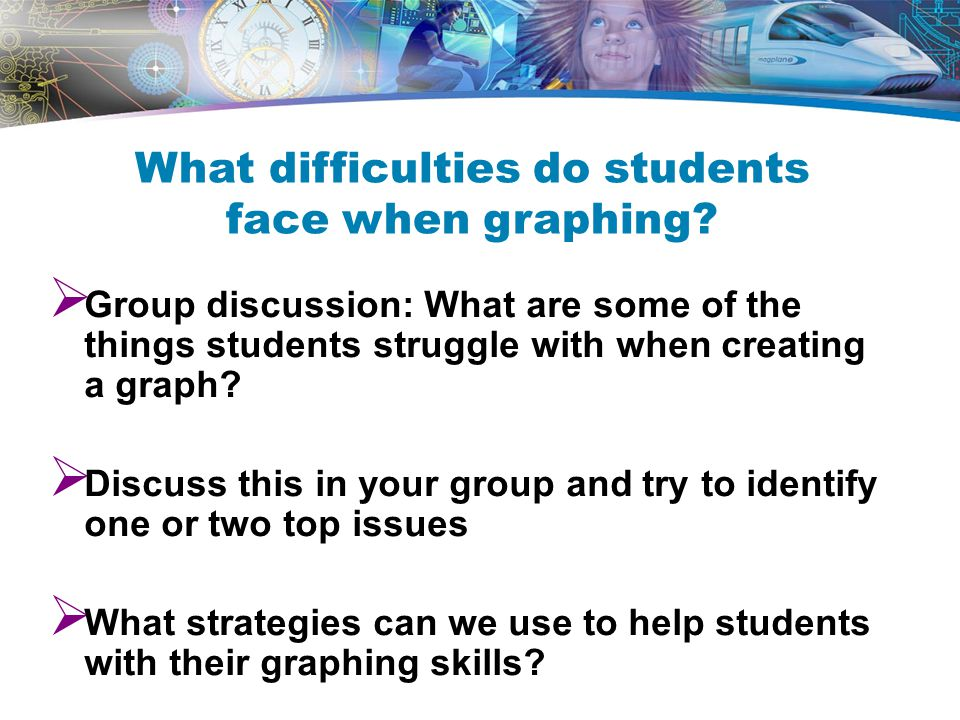  Group discussion: What are some of the things students struggle with when creating a graph.