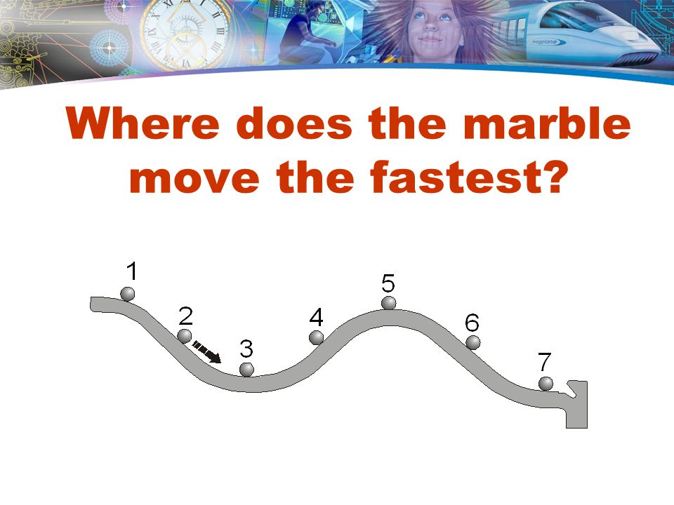 Where does the marble move the fastest
