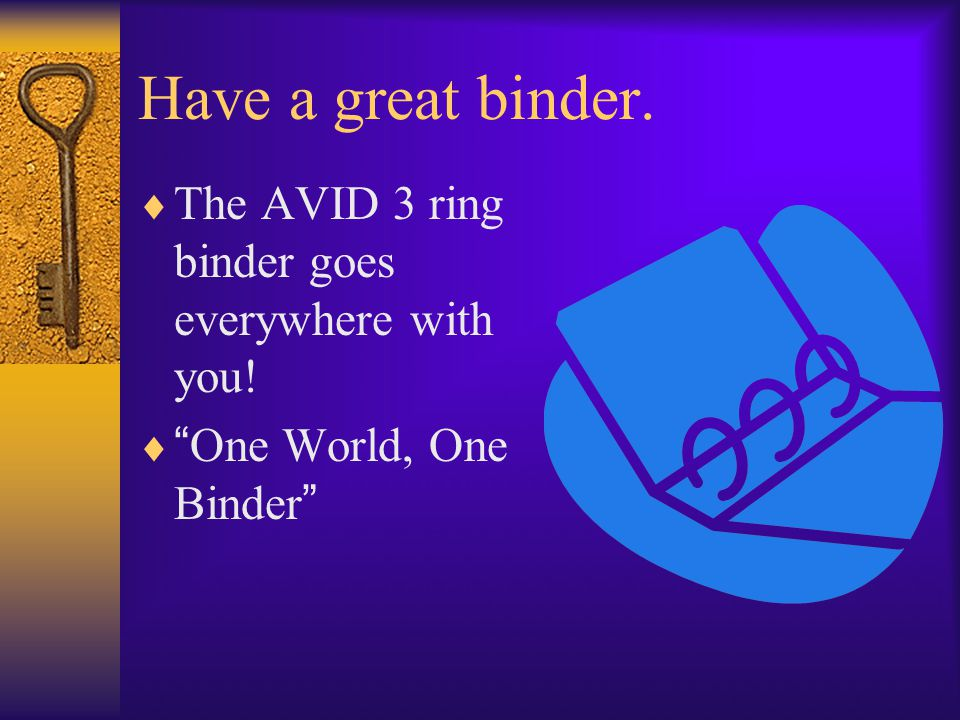 "Have a great binder.  The AVID 3 ring binder goes everywhere with you!  "" One World, One Binder """