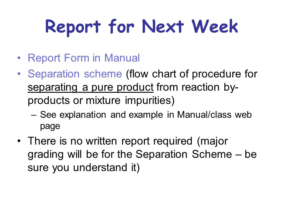 Report for Next Week Report Form in Manual Separation scheme (flow chart of procedure for separating a pure product from reaction by- products or mixt