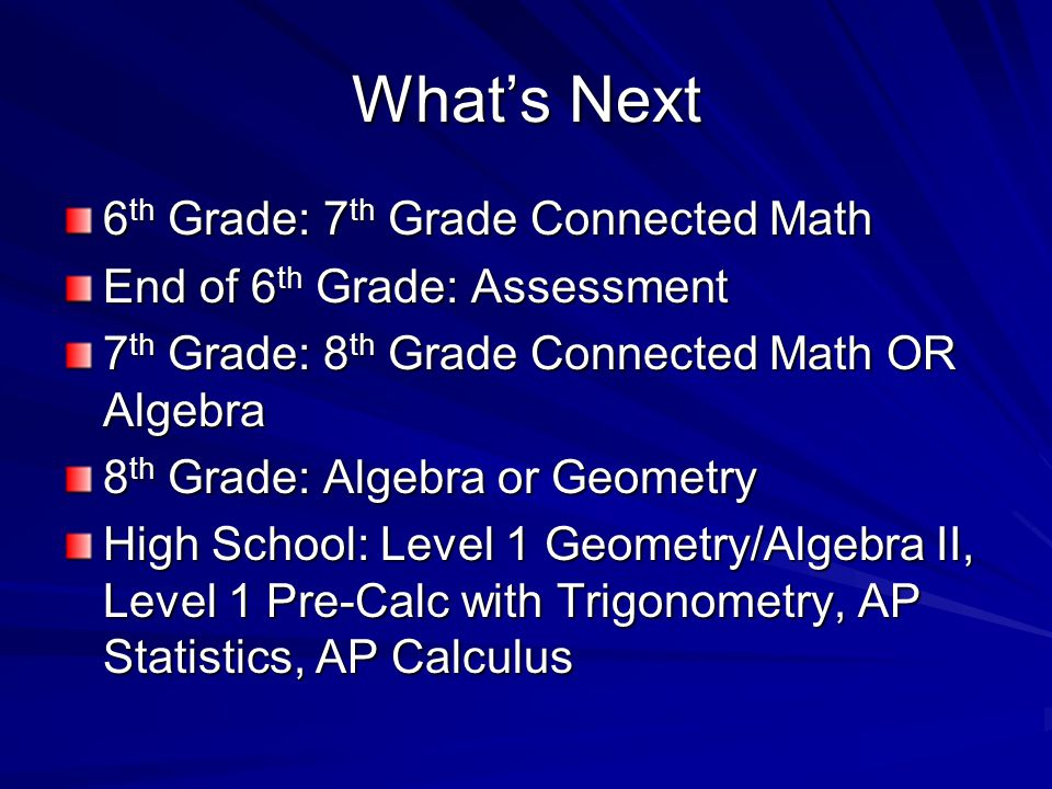What's Next 6 th Grade: 7 th Grade Connected Math End of 6 th Grade: Assessment 7 th Grade: 8 th Grade Connected Math OR Algebra 8 th Grade: Algebra or Geometry High School: Level 1 Geometry/Algebra II, Level 1 Pre-Calc with Trigonometry, AP Statistics, AP Calculus