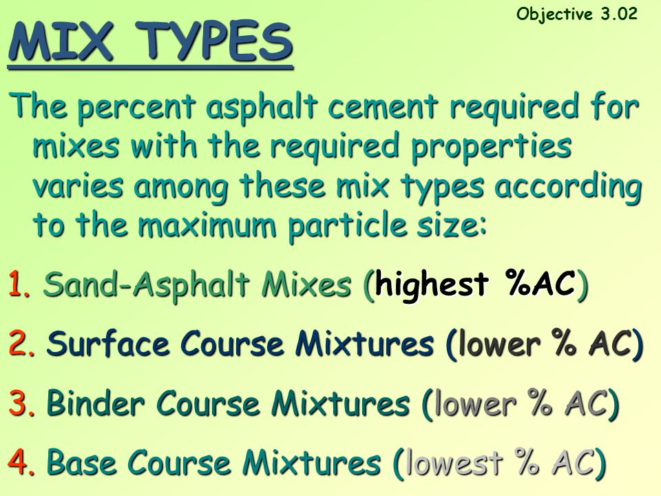 MIX TYPES The percent asphalt cement required for mixes with the required properties varies among these mix types according to the maximum particle si