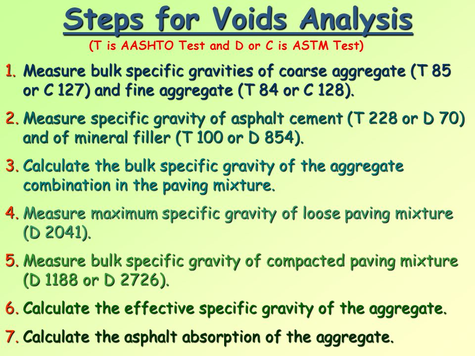 Steps for Voids Analysis 1.M easure bulk specific gravities of coarse aggregate (T 85 or C 127) and fine aggregate (T 84 or C 128). 2.M easure specifi