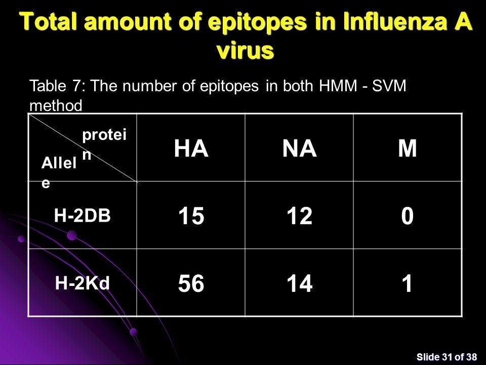 Slide 31 of 38 Total amount of epitopes in Influenza A virus HANAM H-2DB 15120 H-2Kd 56141 Table 7: The number of epitopes in both HMM - SVM method protei n Allel e