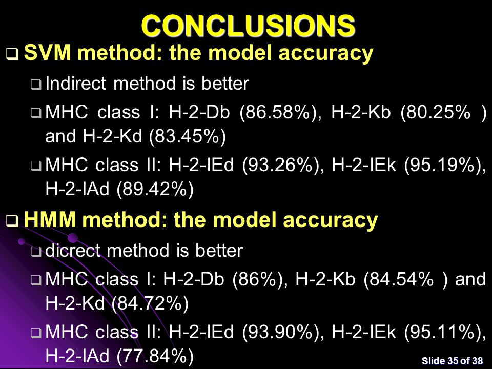 Slide 35 of 38 CONCLUSIONS  SVM method: the model accuracy  Indirect method is better  MHC class I: H-2-Db (86.58%), H-2-Kb (80.25% ) and H-2-Kd (83.45%)  MHC class II: H-2-IEd (93.26%), H-2-IEk (95.19%), H-2-IAd (89.42%)  HMM method: the model accuracy  dicrect method is better  MHC class I: H-2-Db (86%), H-2-Kb (84.54% ) and H-2-Kd (84.72%)  MHC class II: H-2-IEd (93.90%), H-2-IEk (95.11%), H-2-IAd (77.84%)