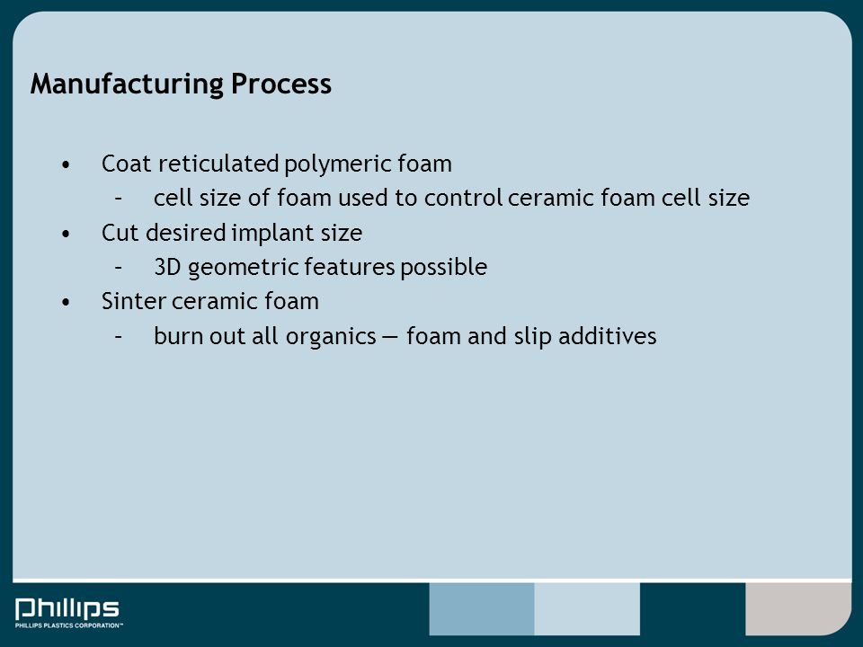 Manufacturing Process Coat reticulated polymeric foam –cell size of foam used to control ceramic foam cell size Cut desired implant size –3D geometric