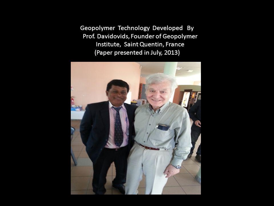 Geopolymer Technology Developed By Prof.