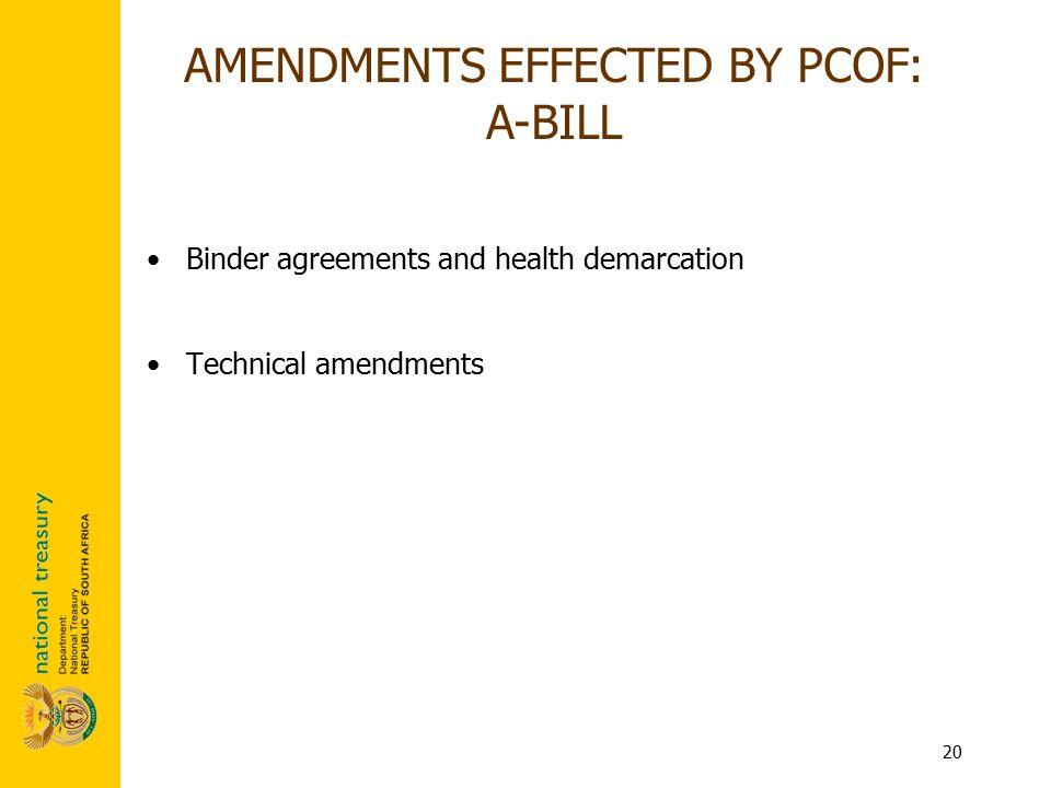 20 Binder agreements and health demarcation Technical amendments AMENDMENTS EFFECTED BY PCOF: A-BILL