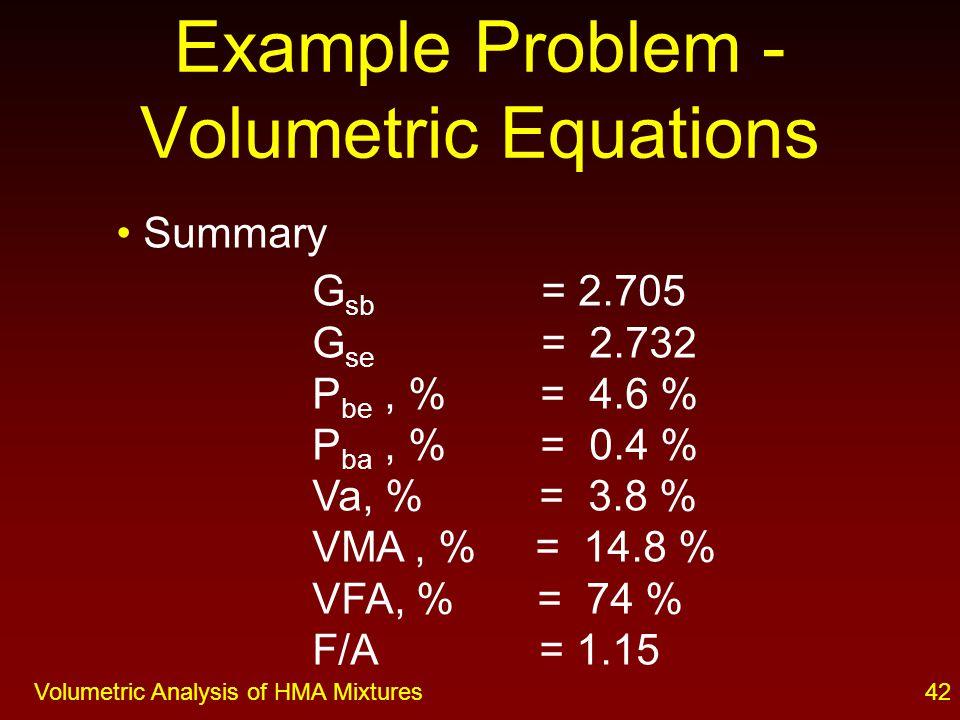 41Volumetric Analysis of HMA Mixtures Dust /Asphalt Ratio F % passing No.