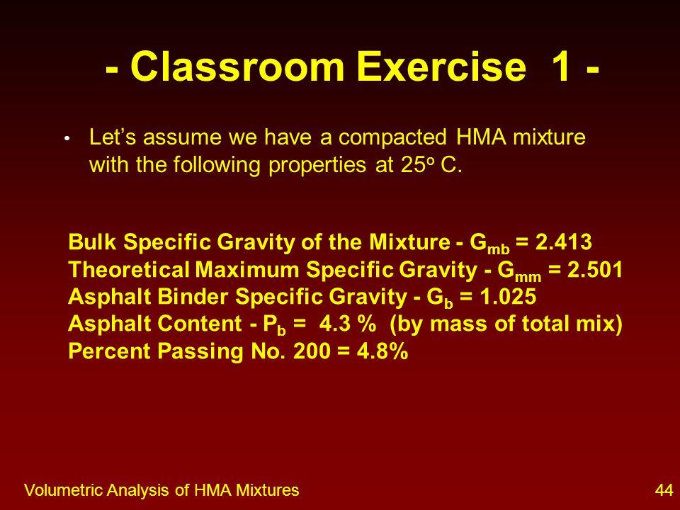 Volumetric Analysis of HMA Mixtures 43 Classroom Exercise