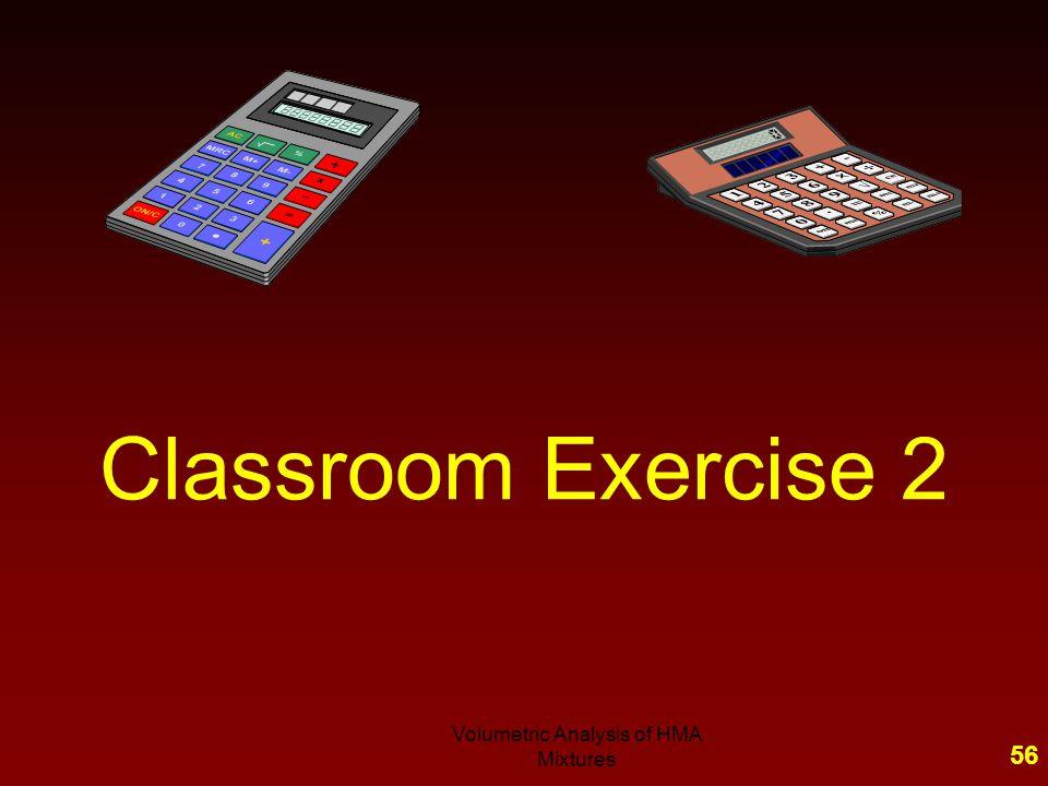 55Volumetric Analysis of HMA Mixtures - Classroom Problem 1 - Summary G sb = G se = P ba, % = P be, % = Va, % = VMA, % = VFA, % = F/A =