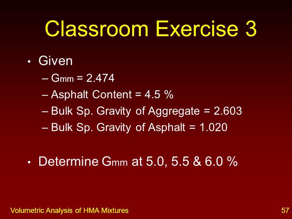 Volumetric Analysis of HMA Mixtures 56 Classroom Exercise 2