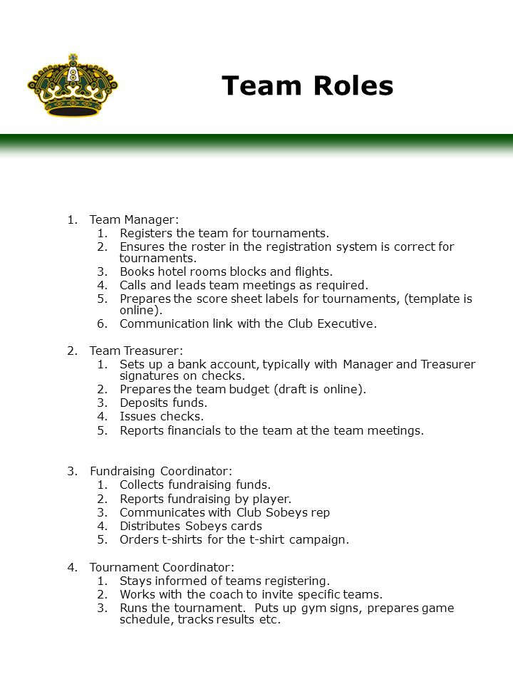 Team Roles 1.Team Manager: 1.Registers the team for tournaments.