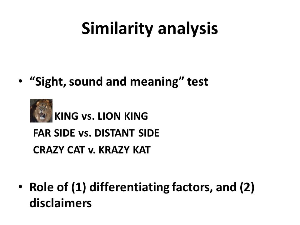 Similarity analysis Sight, sound and meaning test KING vs.