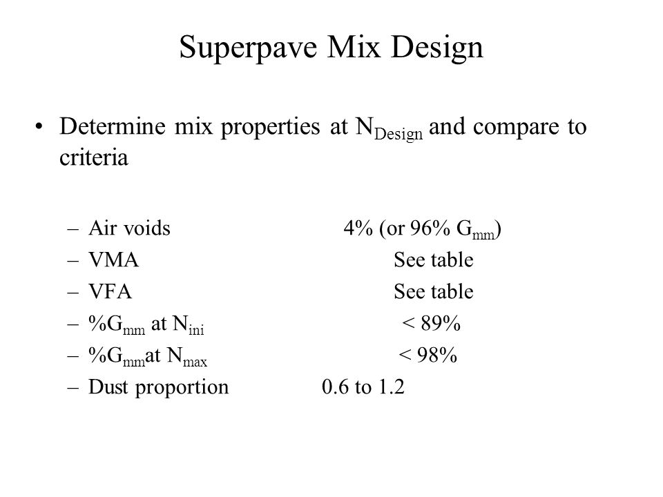 Superpave Testing Specimen heights Mixture volumetrics – Air voids – Voids in mineral aggregate (VMA) – Voids filled with asphalt (VFA) – Mixture dens
