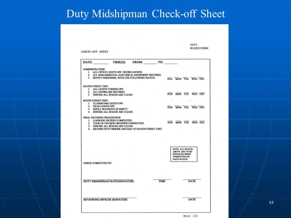12 Duty Midshipman Check-off Sheet