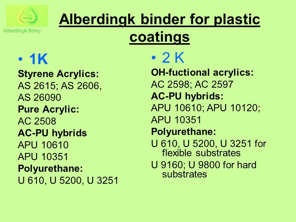 Alberdingk binder for plastic coatings 1K Styrene Acrylics: AS 2615; AS 2606, AS 26090 Pure Acrylic: AC 2508 AC-PU hybrids APU 10610 APU 10351 Polyure